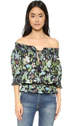 Tory Burch Smocked Cotton Peasant Top Garden Wisteria Small