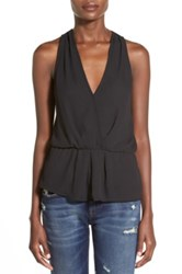 Leith Sleeveless Surplice Top Black