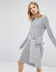 Native Youth Tie Front Knit Dress Grey