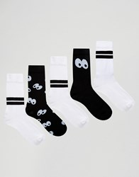 Asos Sports Style Socks With Cartoon Eyes Design 5 Pack Multi