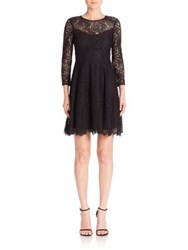 Nanette Lepore Three Quarter Sleeve Lace Dress Black