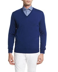 Ermenegildo Zegna High Performance Wool Sweater Bright Blue Size 48 Light Blue
