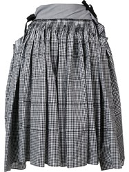 Comme Des Garcons Tricot Checked Full Skirt Black