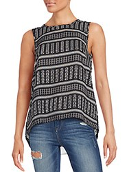 Collective Concepts Printed Tulip Back Tank Black