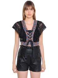Philosophy Di Lorenzo Serafini Eyelet Lace And Floral Print Crop Top
