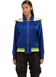 J.W.Anderson Satin Hooded Jacket Blue