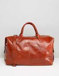 Royal Republiq Leather Supreme Holdall Bag In Brown Brown