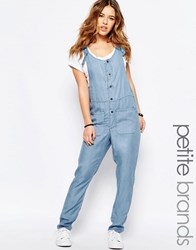 Noisy May Petite Chambray Button Through Jumpsuit Blue