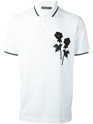 Dolce And Gabbana Rose Patch Polo Shirt White