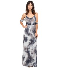 Culture Phit Mila Tie Dye Cold Shoulder Maxi Dress With Slit Grey Tie Dye Women's Dress Gray