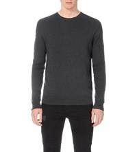 Allsaints Kansen Cotton And Wool Blend Jumper Charcoal Marl
