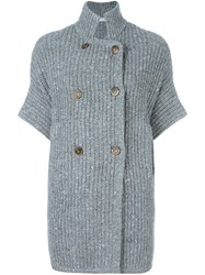 Brunello Cucinelli Double Breasted Knitted Cardigan Grey