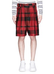 Sacai Pleated Check Plaid Shorts Red