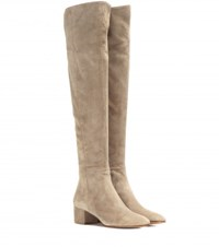 Gianvito Rossi Rolling Suede Knee High Boots Beige