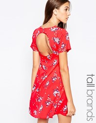 Influence Tall Tea Dress With Open Back Red