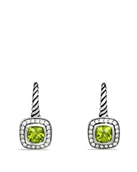 David Yurman Albion Drop Earrings With Peridot And Diamonds Silver