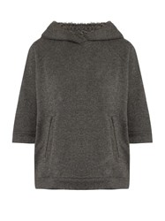 Brunello Cucinelli Cashmere And Cotton Blend Hooded Sweatshirt Dark Grey