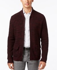Alfani Men's Flap Pocket Full Zip Cardigan Only At Macy's Rasin Torte Combo