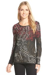 Nic Zoe 'Dark Tropics' Print Scoop Neck Sweater Petite Red