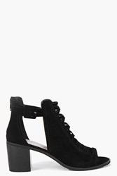 Boohoo Peeptoe Suedette Cross Detail Boot Black