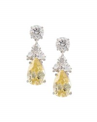 Fantasia Pear Canary Crystal Drop Earrings White