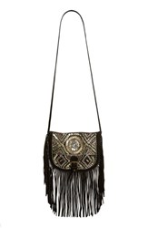 Big Buddha Fringe And Bead Embellished Crossbody Bag