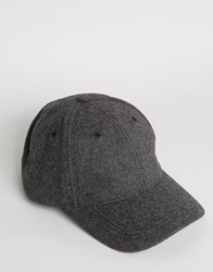 Asos Baseball Cap In Charcoal Melton Charcoal Grey