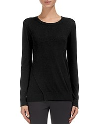 Whistles Sparkle Wrap Front Knit Sweater Black