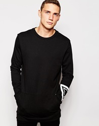 Another Influence Longline Crew Print Sweater Black