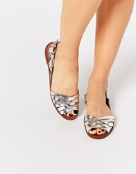 Pull And Bear Pullandbear Metallic Leather Strap Shoes Silver