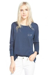 Women's Vineyard Vines Whale Print Long Sleeve Tee Blue Blazer