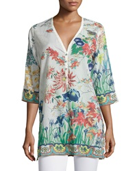 Johnny Was Floral Print V Neck 3 4 Sleeve Blouse Multicolor