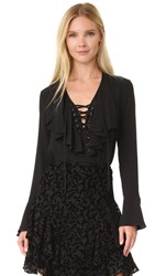 Yigal Azrouel Lace Up Ruffle Blouse Black