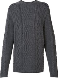 Maison Martin Margiela Distressed Cable Knit Jumper Grey