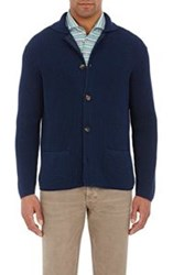 Luciano Barbera Rice Stitched Cardigan Blue