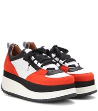 Ganni Naomi Tech Mesh And Suede Sneaker Red