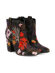 Laurence Dacade Pete Check And Floral Embroidered Wool Boots Multi Coloured Khaki