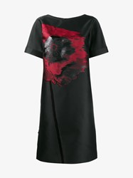 Osman Silk Blend Poppy Embroidered Shift Dress Black Red