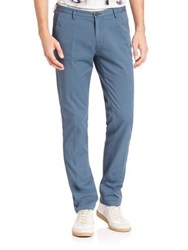 Hugo Boss Solid Cotton Blend Straight Pants Turquoise