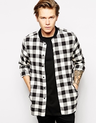 Asos Baseball Shirt In Long Sleeve With Buffalo Check Ecru