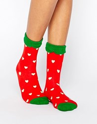 Monki Strawberry Love Socks Red