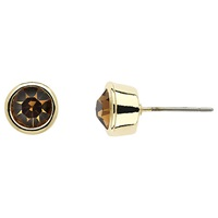 Monet Round Crystal Stud Earrings Gold Topaz
