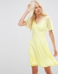 Asos Skater Dress With Lace Insert Yellow