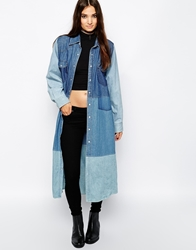 The Ragged Priest Reworked Vintage Longline Patch Denim Shirt Dress Blue