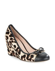 Kate Spade Kacey Leather Wedge Pumps Leopard Blush