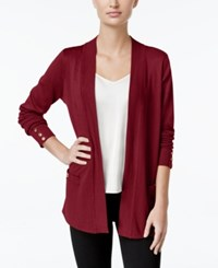 Charter Club Open Front Button Cuff Cardigan Only At Macy's Cardinal Red