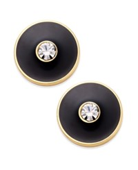 Kate Spade New York Set In Stone Gold Tone Crystal Center Round Stud Earrings Black