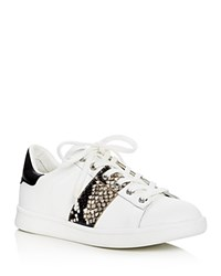 Sam Edelman Marquette Snake Embossed Lace Up Sneakers White Putty Black
