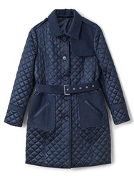 Precis Petite Erin Quilted Belted Trench Navy