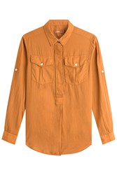 Closed Cotton Shirt With Buttoned Pockets Yellow